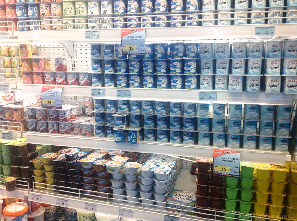 Фото цен на продукты на Маврикии. Йогурт стоит примерно треть евро