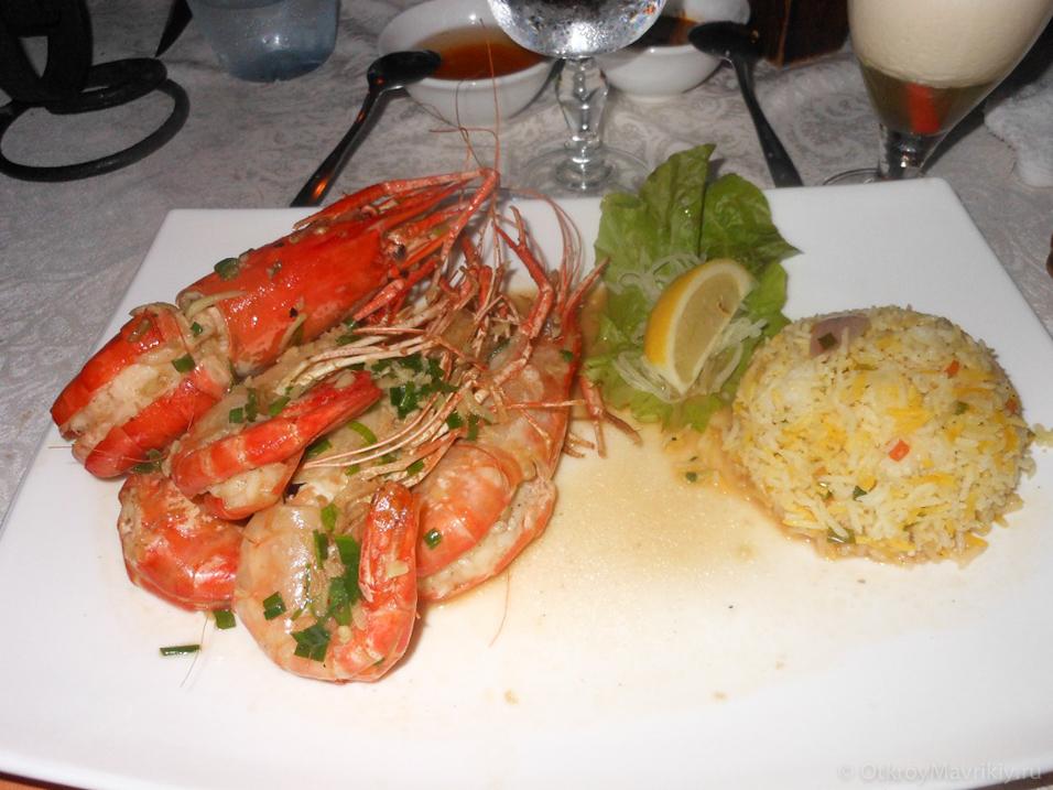 Фото вкусного ужина на двоих в одном из лучших ресторанов Маврикия по цене 50-80 евро