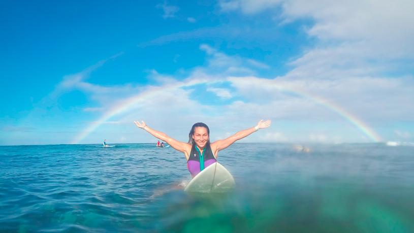 Серфинг на Маврикии под радугой