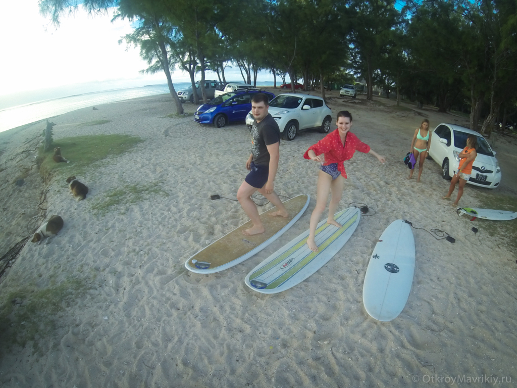 Молодожены на серфинге